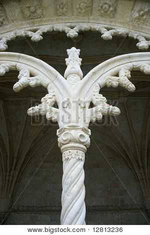 Ornate column on Jeronimos Monastery in Lisbon, Portugal.