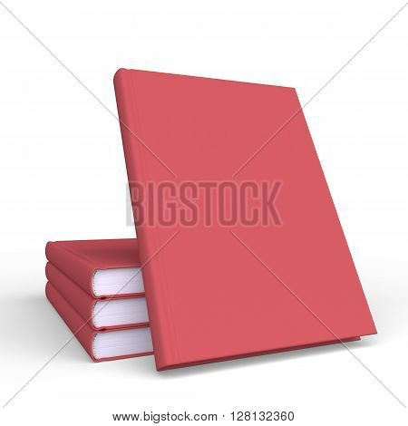 Set of mock up book on clean background. Template book cover for presentation of printed projects. 3D Rendering.