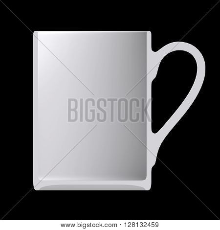 Shape empty cup in cut on clean background. Half cup of front side view. Blank to display recipes and food. 3D Rendering.