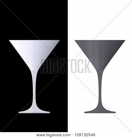 Shape Empty Cocktail Glass In Cut On Clean Background.