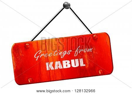 Greetings from kabul, 3D rendering, vintage old red sign