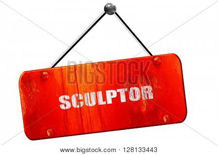 sculptor, 3D rendering, vintage old red sign