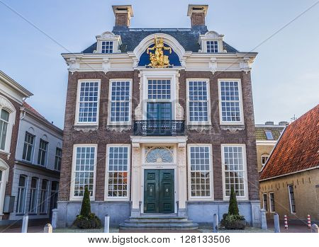 HEERENVEEN, NETHERLANDS - APRIL 11, 2016: Town hall in historical city Harlingen, Netherlands