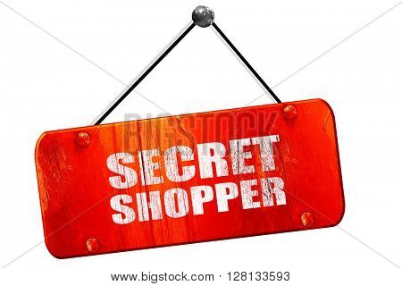 secret shopper, 3D rendering, vintage old red sign