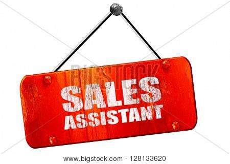 sales assistant, 3D rendering, vintage old red sign