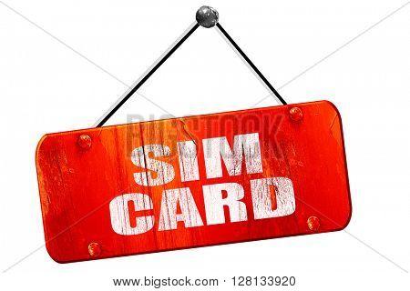 sim card, 3D rendering, vintage old red sign