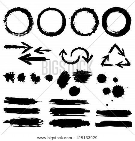 Set of hand-drawn ink design elements circles scribble lines stroke swirl pointers blobs. Vector.