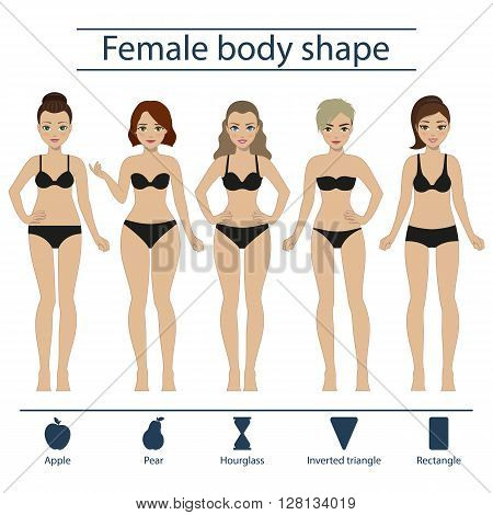 Set of five different types of female figures - hourglass apple pear rectangle inverted triangle. Vector.