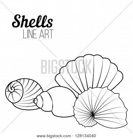 Shells modern line art. Set of shells. Pattern for coloring book. Vector.