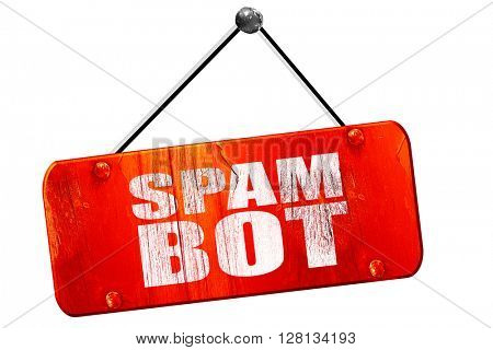 spam bot, 3D rendering, vintage old red sign