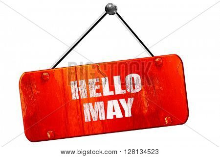 hello may, 3D rendering, vintage old red sign
