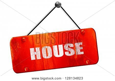 house music, 3D rendering, vintage old red sign