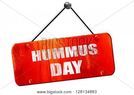 hummus day, 3D rendering, vintage old red sign