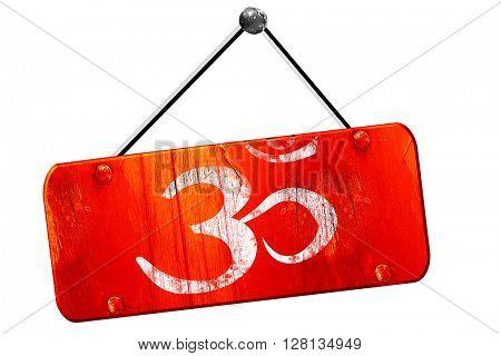 Om sign icon, 3D rendering, vintage old red sign