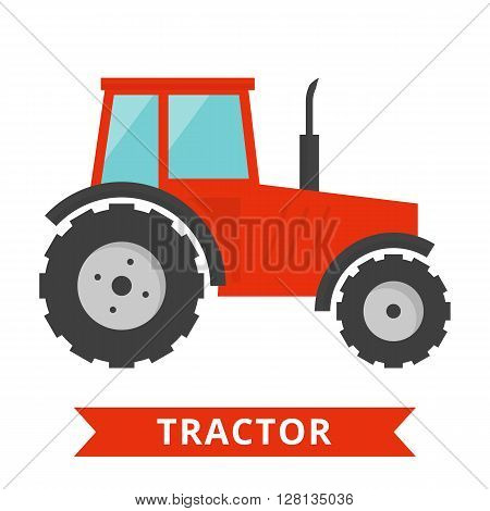Red tractor icon. Agriculture farm truck isolated. Flat tractor