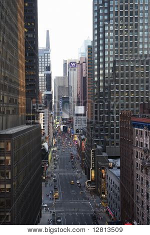 New York City street with skyscrapers.