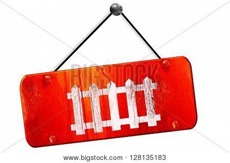 Railway warning sign, 3D rendering, vintage old red sign
