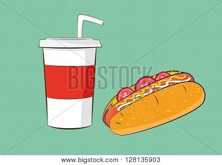 vector illustration of hotdog sausage with cola drink. fast food concept. eps 10
