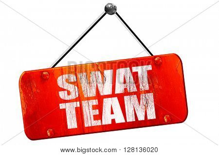 swat team, 3D rendering, vintage old red sign