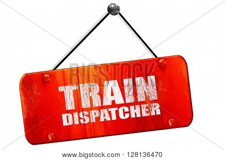 train dispatcher, 3D rendering, vintage old red sign