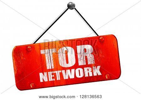 tor network, 3D rendering, vintage old red sign