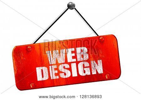 web design, 3D rendering, vintage old red sign