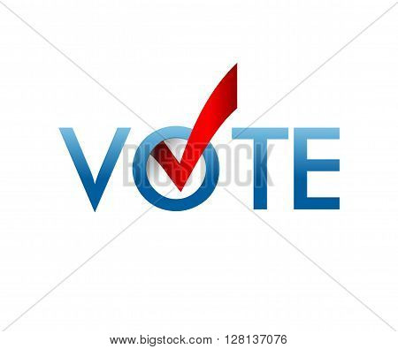 Voting Symbols vector design. template Elections icons. check marks. Vector blue.