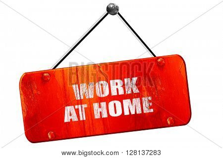work at home, 3D rendering, vintage old red sign