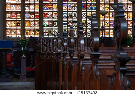London, UK - April 25, 2016 - The interior of an English chapel, Lincoln's Inn Chapel.