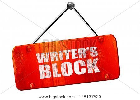 writer's block, 3D rendering, vintage old red sign