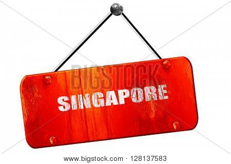 singapore, 3D rendering, vintage old red sign