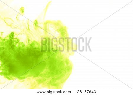Abstract art. green hookah smoke on a white background. Inhalation. The steam generator. The concept of poison gas. Gaseous.