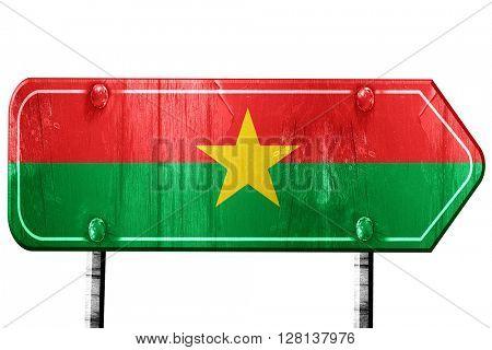 Burkina Faso flag, 3D rendering, road sign on white background
