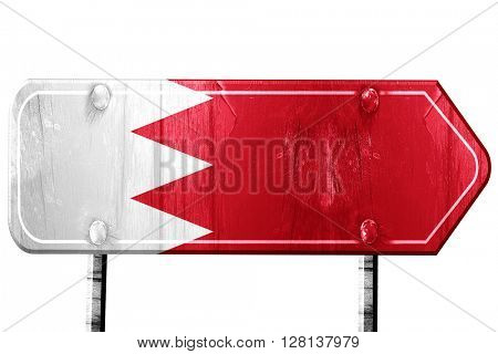 Bahrain flag, 3D rendering, road sign on white background