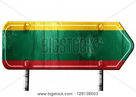 Lithuania flag, 3D rendering, road sign on white background