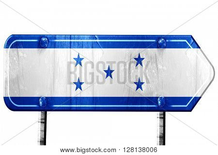 Honduras flag, 3D rendering, road sign on white background