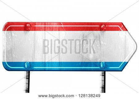 Luxembourg flag, 3D rendering, road sign on white background