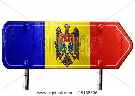 Moldova flag, 3D rendering, road sign on white background