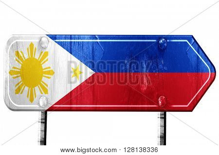 Philippines flag, 3D rendering, road sign on white background