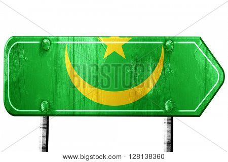 Mauritania flag, 3D rendering, road sign on white background