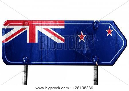 New zeeland flag, 3D rendering, road sign on white background
