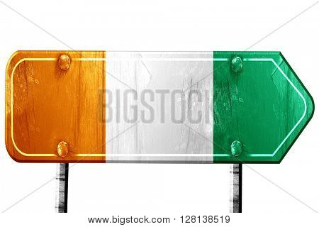 Ivory coast flag, 3D rendering, road sign on white background