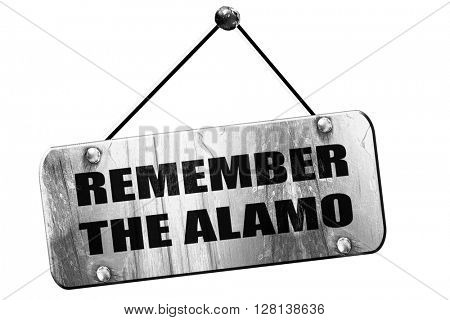 remember the alamo, 3D rendering, grunge hanging vintage sign