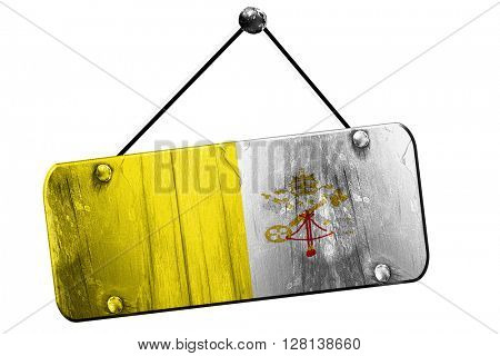 papal flag sign, 3D rendering, grunge hanging vintage sign