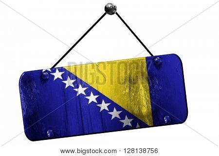 Bosnia and Herzegovina flag, 3D rendering, vintage grunge hangin