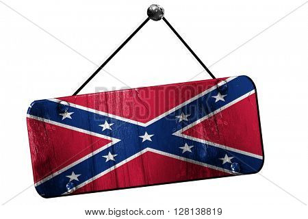 Rebel flag, 3D rendering, grunge hanging vintage sign