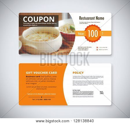 Gift coupon voucher template for restaurant. flyer brochure vector stock.