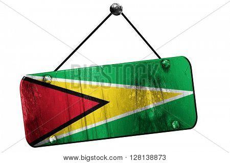 Guyana flag, 3D rendering, vintage grunge hanging sign