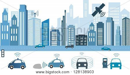 Traffic and wireless network Intelligent Transport Systems. Autonomous Driverless Car.Automobile sensors use in self-driving cars Electric car charging at the charger station.