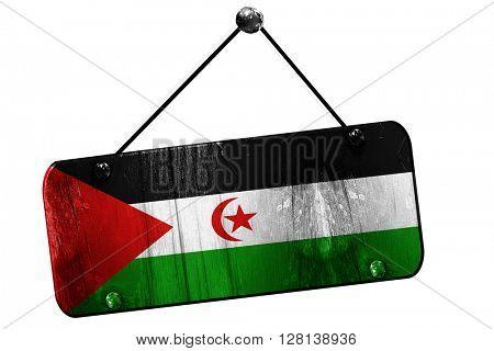 Western sahara flag, 3D rendering, vintage grunge hanging sign